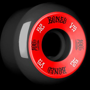 BONES 100's 52x30 V5 Skateboard Wheel 100A Black 4pk